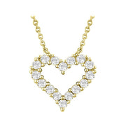 14k yellow gold heart outline diamond necklace