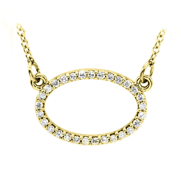 14k yellow gold oval diamond pendant
