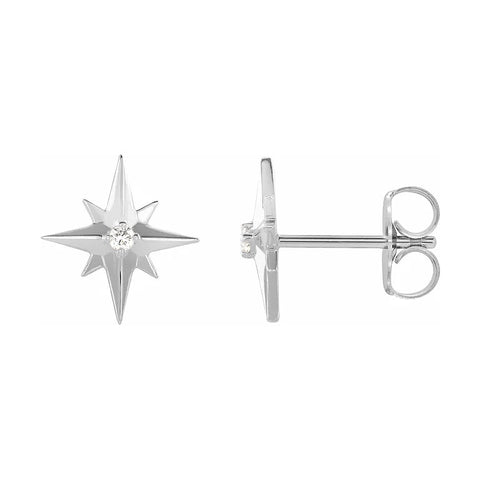 white gold star diamond stud earrings
