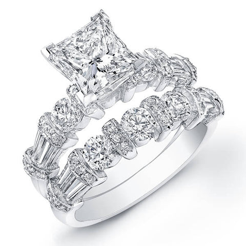 2.99 Ct. Princess Cut Diamond Engagement Set (GIA Certified)