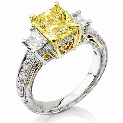 Canary Fancy Yellow Radiant Cut w Trapezoids Diamond Ring