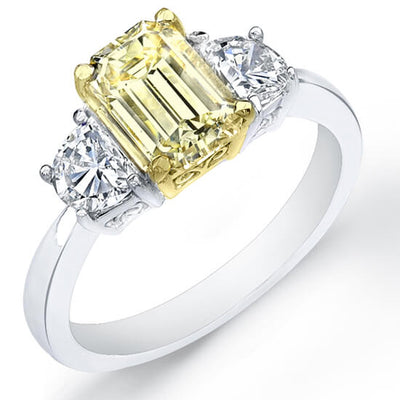 2.37 Ct. Canary Fancy Yellow Emerald Cut Diamond Engagement Ring