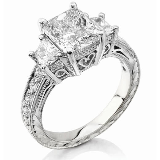 Hand-Carved Radiant Cut Diamond Ring w Trapezoids