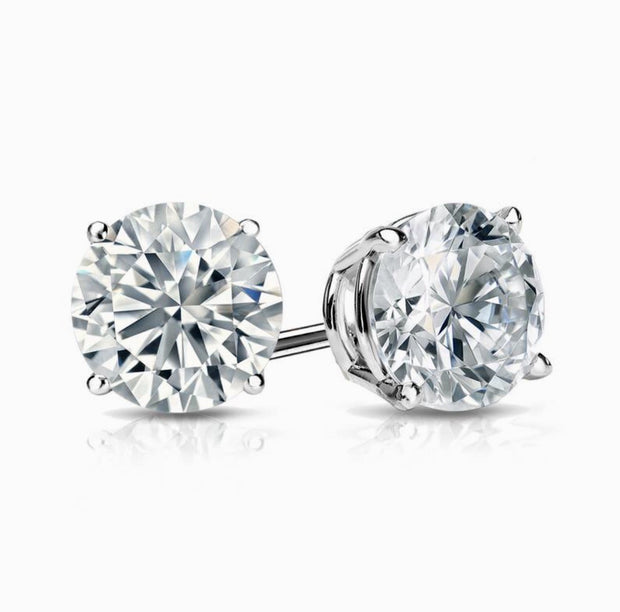 4.00 Ct. Round Cut Diamond Stud Earrings H Color SI1 Clarity GIA Certified