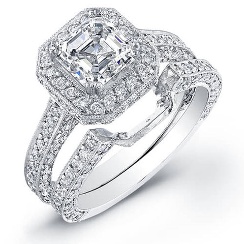 Asscher Cut Diamond Engagement Ring w Matching Band