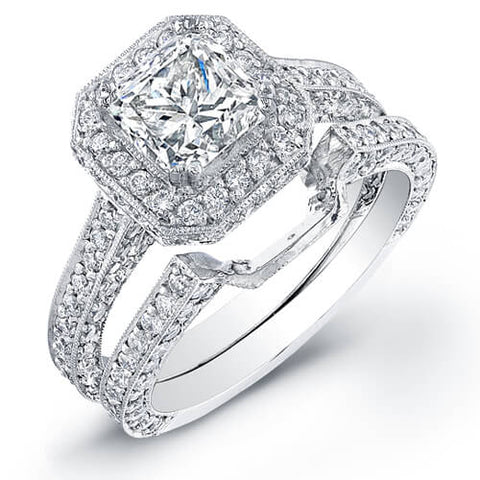 3.43 Princess Cut Diamond Engagement Set (GIA certified)
