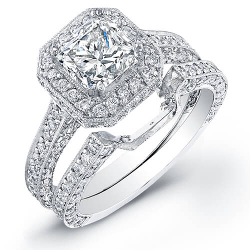 3.44 Princess Cut Diamond Engagement Set (GIA certified)