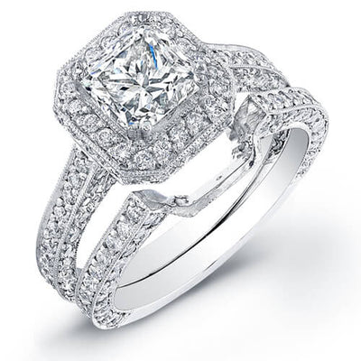3.73 Princess Cut Diamond Engagement Set (GIA certified)