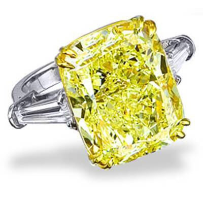 5.53 Ct. Canary Fancy Yellow Cushion Cut Diamond Engagement Ring (GIA certified)