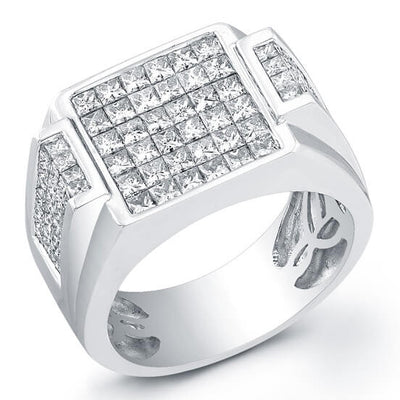 3.72 Ct. Mens Princess Cut Diamond Invisible Wedding Ring