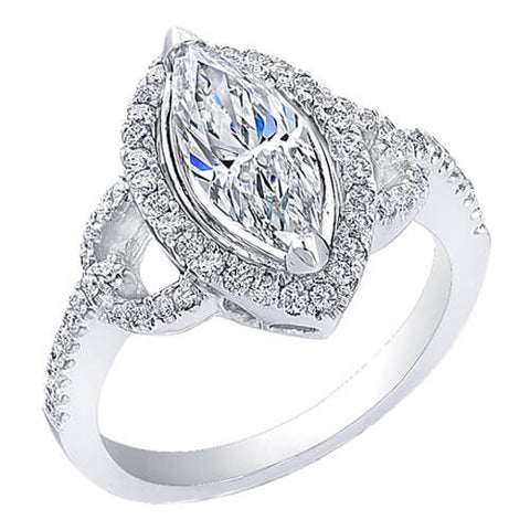 Halo Marquise Cut Diamond Engagement Ring