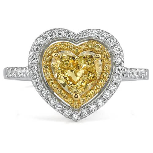 1.16 Ct. Canary Fancy Yellow Heart Shape Diamond Engagement Ring