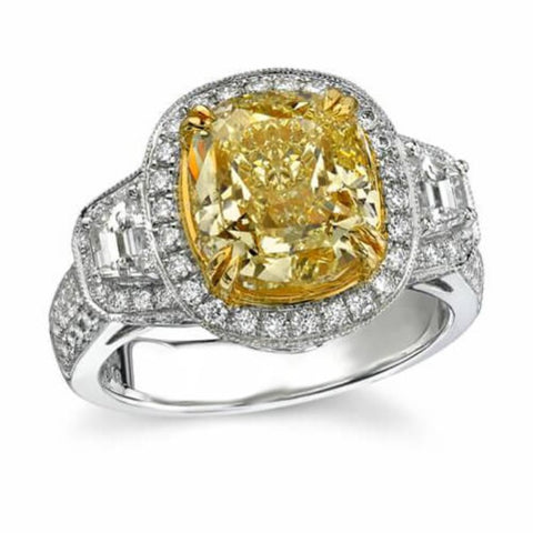 3.38 Ct. Yellow Canary Fancy Cushion Cut Diamond Engagement Ring (GIA certified)