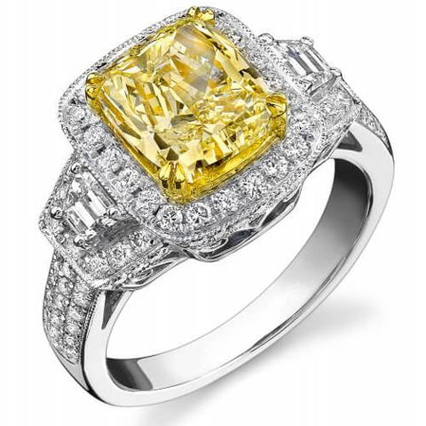 4.35 Ct. Fancy Intense Yellow Canary Cushion Cut Diamond Engagement Ring