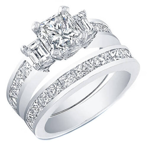 4.53 Ct. Princess Cut Diamond Engagement Set (GIA certified)
