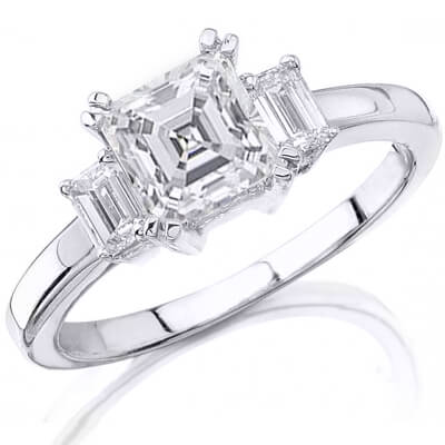 1.70 Ct. 3 Stone Asscher Cut Diamond Engagement Ring F, VS1 (GIA certified)
