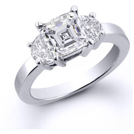3.10 Ct. 3 Stone Asscher Cut Diamond Engagement Ring G, SI1 (GIA certified)