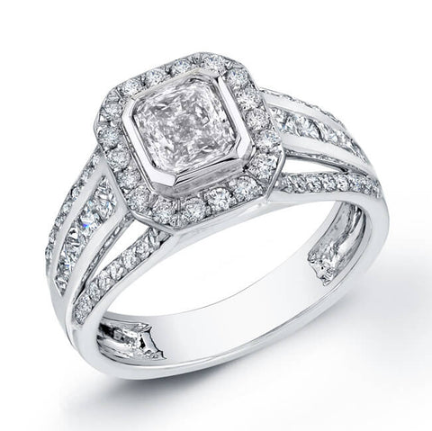2.59 Ct. Radiant Cut Diamond Engagement Ring Bezel Set G, VS2