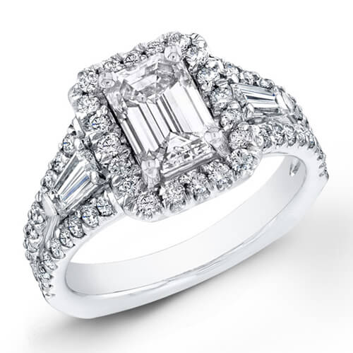 2.08 Ct. Emerald Cut Diamond Engagement Ring W/ French Pave I, VS1 (GIA Certified)