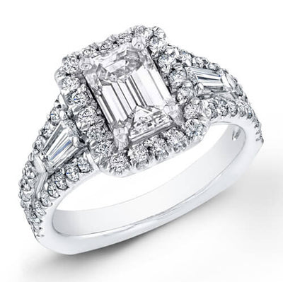2.70 Ct. Emerald Cut Diamond Engagement Ring W/ French Pave H, VS2