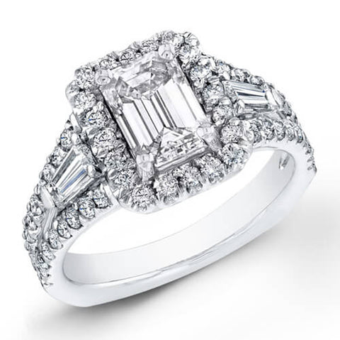 3.19 Ct. Emerald Cut Diamond Engagement Ring W/ French Pave G, VS2 (GIA Certified)