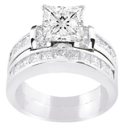 2.68 Ct. Princess Cut Diamond Engagement Set G, VVS2 (GIA Certified)