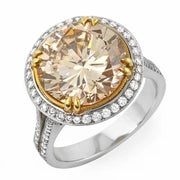 7.22 Ct. Canary Fancy Brown Round Cut Diamond Engagement Ring (GIA Certified)