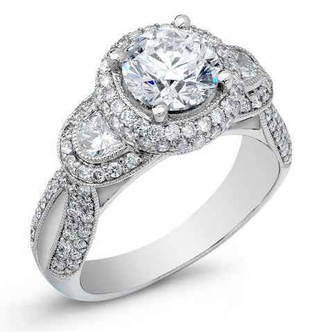 2.89 Ct. Round Brilliant Cut W/ Half Moon Diamond Engagement Ring H, VS2