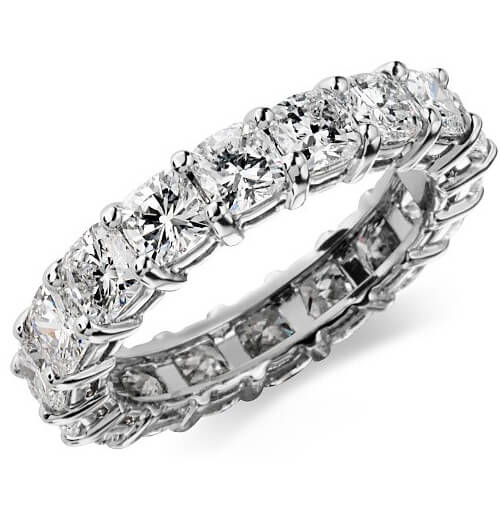 4.0 Ct. Cushion Cut Diamond Eternity Ring F/VS2