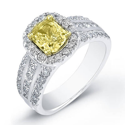2.05 Ct. Canary Fancy Yellow Cushion Cut Diamond Engagement Ring