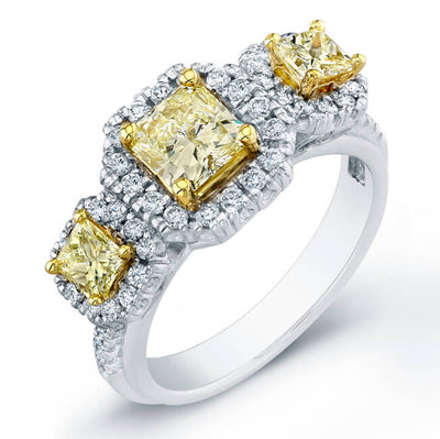 1.70 Ct. Three Stone Canary Fancy Yellow Radiant Cut Diamond Engagement Ring