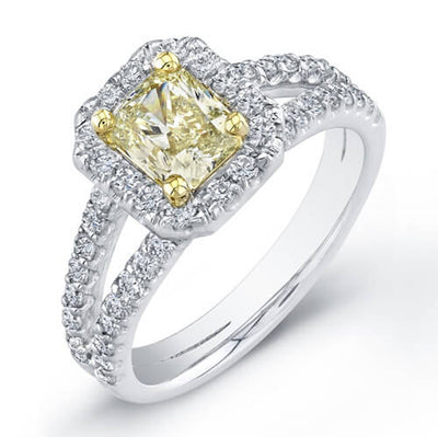 2.26 Ct. Canary Fancy Yellow Radiant Cut Diamond Engagement Ring (GIA Certified)