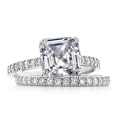 1.79 Ct. Asscher Cut Diamond Engagement Bridal Set Ring H, VS1