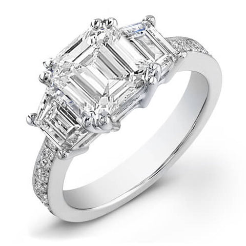 3.17 Ct. Emerald Cut Diamond Engagement Ring I,VS2 (GIA certified)