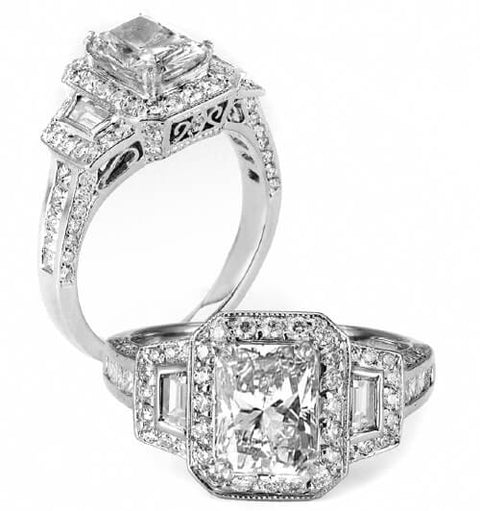 2.62 Ct. Radiant Cut Diamond Engagement Ring I, VS1