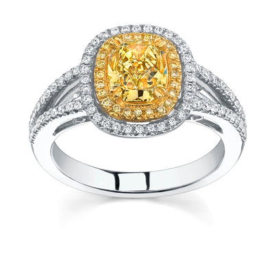 2.30 Ct. Canary Fancy Yellow Cushion Cut Diamond Engagement Ring SI1 GIA Certified