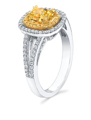 2.40 Ct. Halo Canary Fancy Yellow Cushion Cut Diamond Engagement Ring GIA Certified