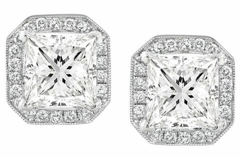 2.62 Ct. Princess Cut Halo Diamond Earrings