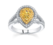 3.00 Ct. Pear Cut Canary Fancy Yellow Dual Halo Diamond Engagement Ring VS2 GIA Certified