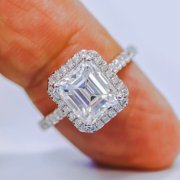 2.10 Ct. U-Setting Halo Emerald Cut Diamond Engagement Ring H Color VS1 GIA Certified