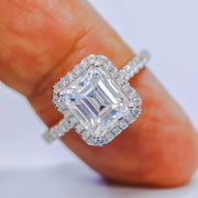 2.20 Halo Emerald Cut Diamond Engagement Ring H Color VS2 GIA certified