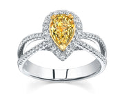 3.25 Ct. Pear Cut Canary Fancy Light Yellow Diamond Engagement Ring VS2 GIA Certified