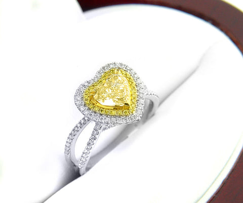 2.00 Ct. Canary Fancy Yellow Heart Shape Diamond Ring VS2 GIA Certified