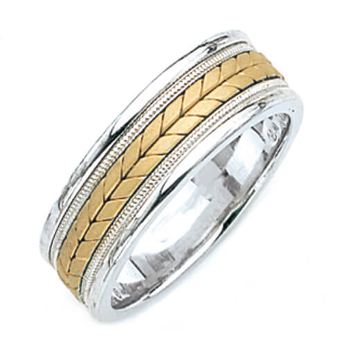 Beautiful Two Tone Hand Made Wedding Ring for Men & Women