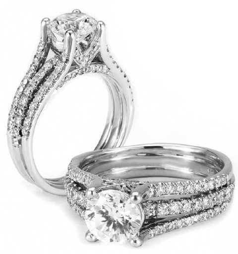 5.29 Ct. Round Cut Diamond Engagement Ring H, SI1