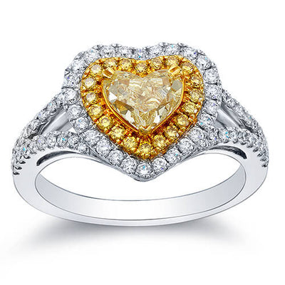 1.60 Ct. Canary Fancy Yellow Heart Cut Diamond Engagement Ring
