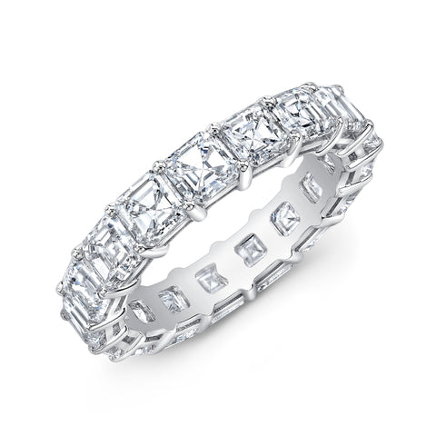 8.0 Ct. Asscher Cut Diamond Eternity Band Wedding Ring F-G Color VS1 Clarity