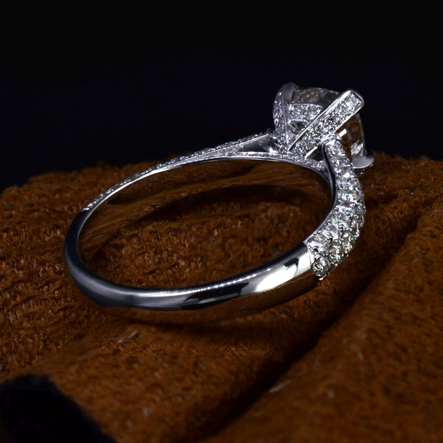 3.50 Ct. Cushion Cut Micro Pave Diamond Engagement Ring H Color VS2 GIA Certified