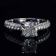 2.50 Ct. Cushion Cut Micro Pave Diamond Engagement Ring F Color VS1 GIA Certified