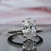 1.55 Ct. Oval Cut Under Halo Pave Diamond Engagement Ring H Color VS2 GIA Certified